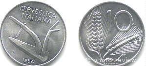 10 итальянских лир. аверс и реверс