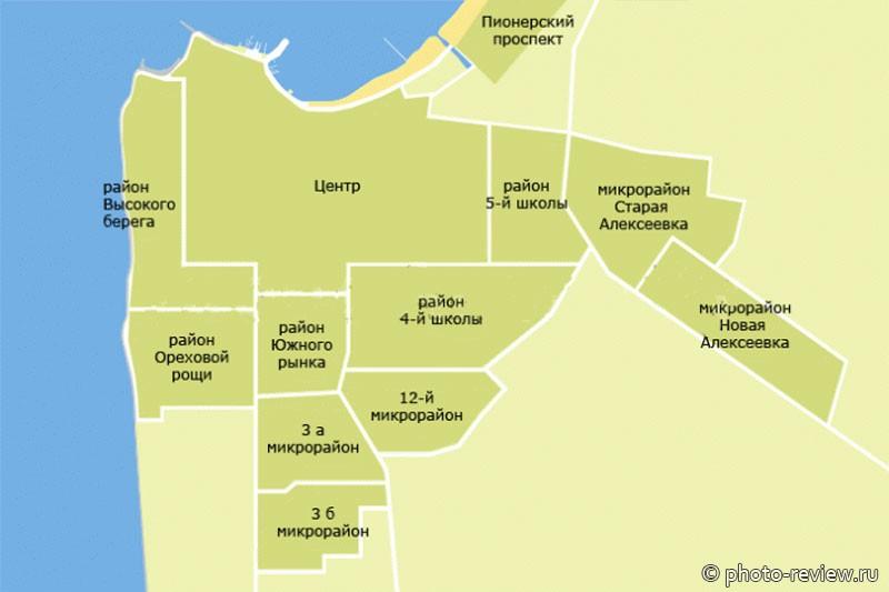 карта Анапы с районами