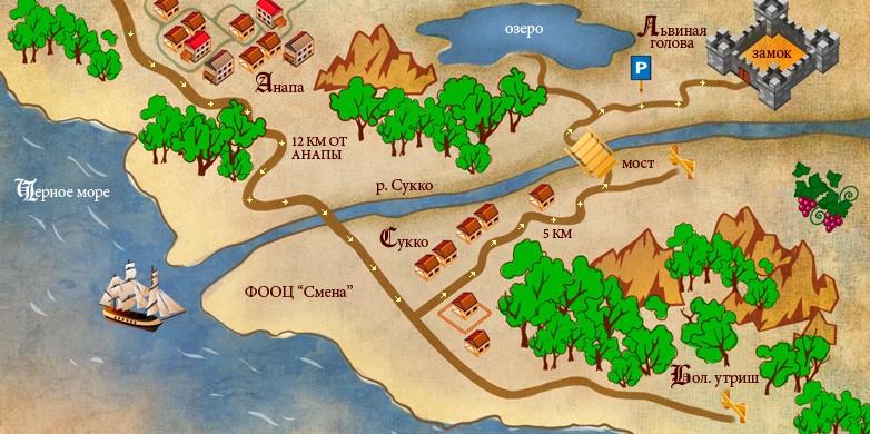Схема проезда до озера Сукко и замка