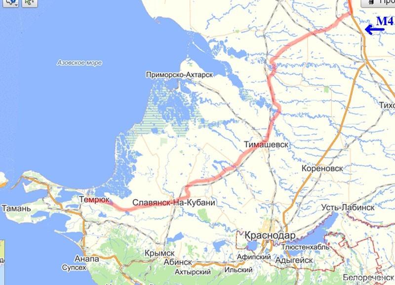 Объездной маршрут: Москва - Тамань (отмечен красной линией)