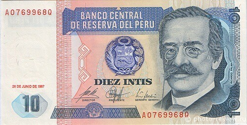 10 перуанских инти. аверс