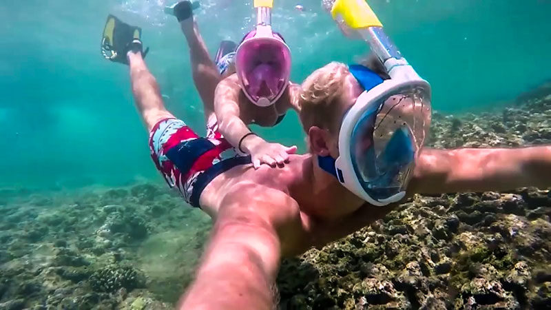маска для плавания с креплением для камеры